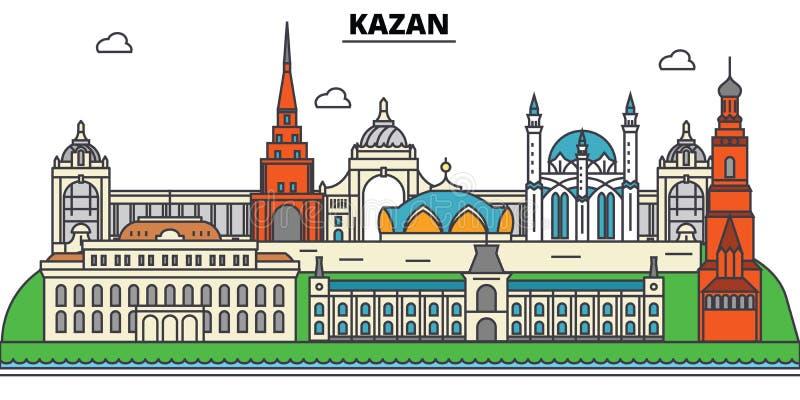 Rusland, Kazan Stadshorizon, architectuur, gebouwen, straten, silhouet, landschap, panorama, oriëntatiepunten editable stock illustratie