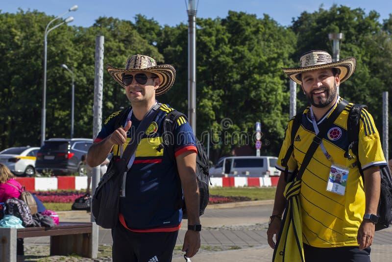 Rusland, Moskou die, 27 Juni, 2018, Mexicanen onderaan de straat lopen, redactie royalty-vrije stock afbeelding
