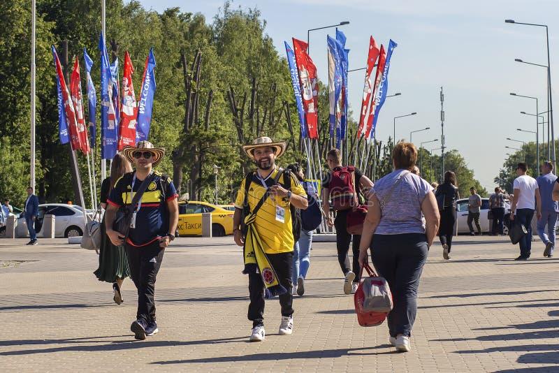 Rusland, Moskou die, 27 Juni, 2018, Mexicanen onderaan de straat lopen, redactie royalty-vrije stock fotografie