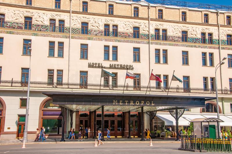 Rusland, Moskou 27 Juli 2019: Hotel Metropol in het centrum stock foto