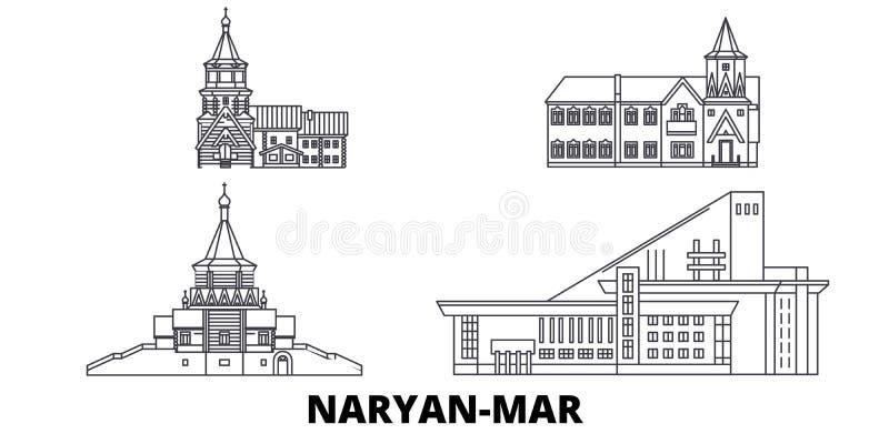 Rusland, Naryan brengt de horizonreeks in de war van de lijnreis Rusland, Naryan brengt de vectorillustratie van de overzichtssta royalty-vrije illustratie
