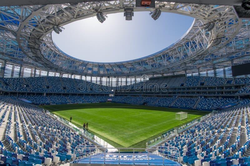 Rusland, Nizhny Novgorod - 16 April, 2018: De mening van het Stadion van Nizhny Novgorod, construeerde onlangs de bouw voor 2018  royalty-vrije stock fotografie
