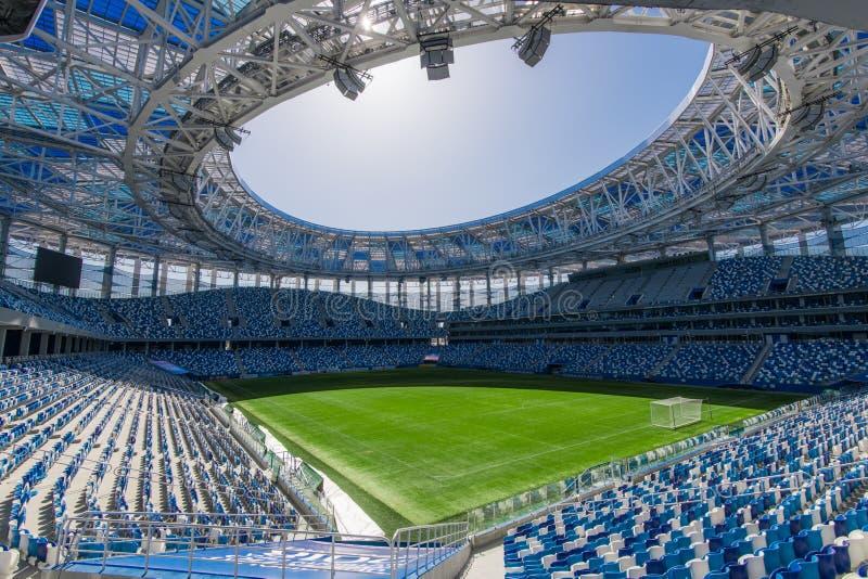 Rusland, Nizhny Novgorod - 16 April, 2018: Mening die van het Stadion van Nizhny Novgorod, voor de Wereldbeker van FIFA van 2018  stock foto's