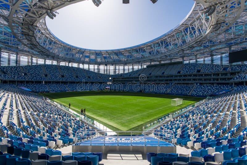 Rusland, Nizhny Novgorod - 16 April, 2018: Mening die van het Stadion van Nizhny Novgorod, voor de Wereldbeker van FIFA van 2018  stock afbeeldingen