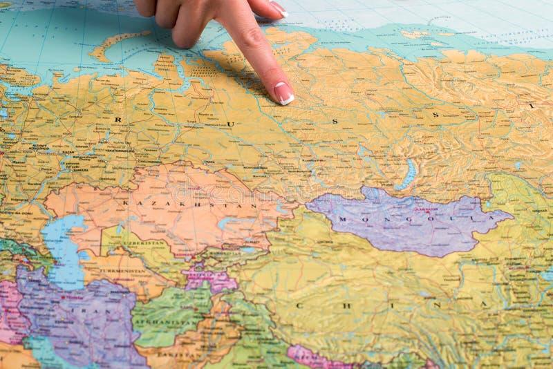 Rusland op de wereldkaart royalty-vrije stock afbeeldingen