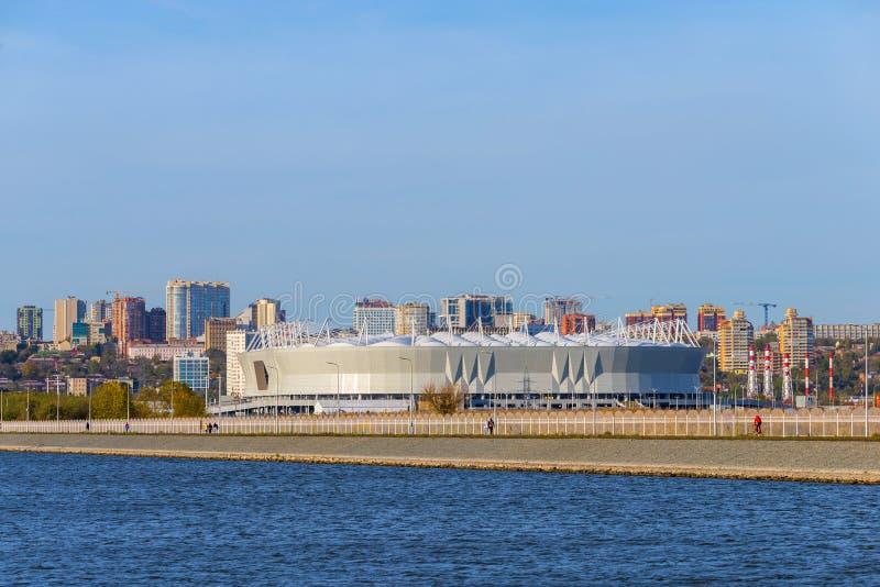 Rusland, rostov-op-trekt - 20 Augustus, 2017 aan: De Arena van Rostov van het voetbalstadion Het stadion voor de Wereldbeker van  royalty-vrije stock afbeelding