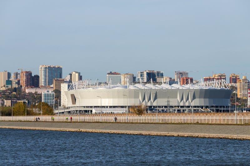 Rusland, rostov-op-trekt - 28 November, 201 aan: De Arena van Rostov van het voetbalstadion Het stadion voor de Wereldbeker van F royalty-vrije stock foto
