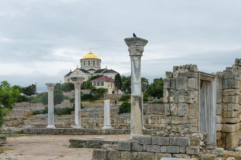 RUSLAND, SEBASTOPOL - de Heilige Vladimir Cathedral op de plaats van Chersonesos Taurica stock afbeelding