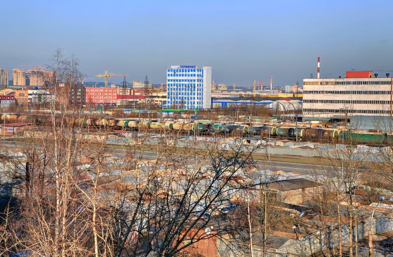 Rusland, St. Petersburg, het industriezonenoorden van de stad. royalty-vrije stock afbeelding