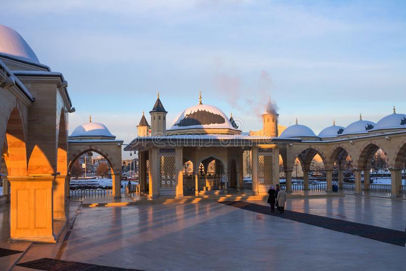RUSLAND, Tchetchenië, Grozniy - Januari 5, 2016: - Hoofdmoskee van de Tchetcheense Republiek - Hart van Tchetchenië royalty-vrije stock fotografie