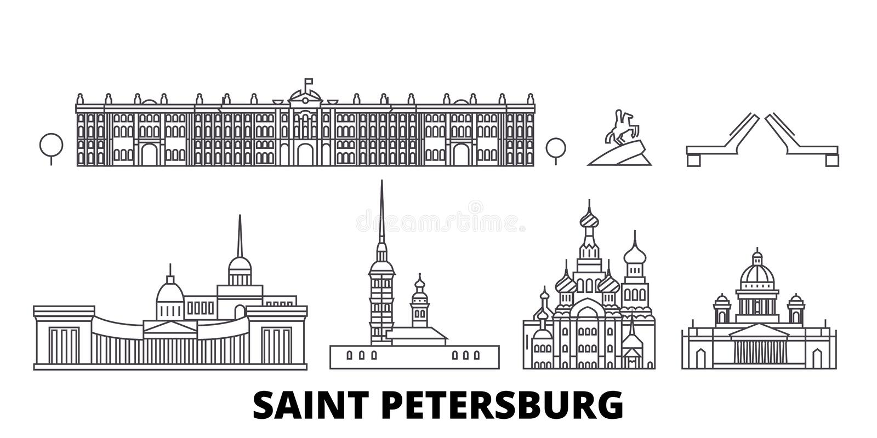 Rusland, van de de lijnreis van Heilige Petersburg de horizonreeks Rusland, van de het overzichtsstad van Heilige Petersburg de v stock illustratie
