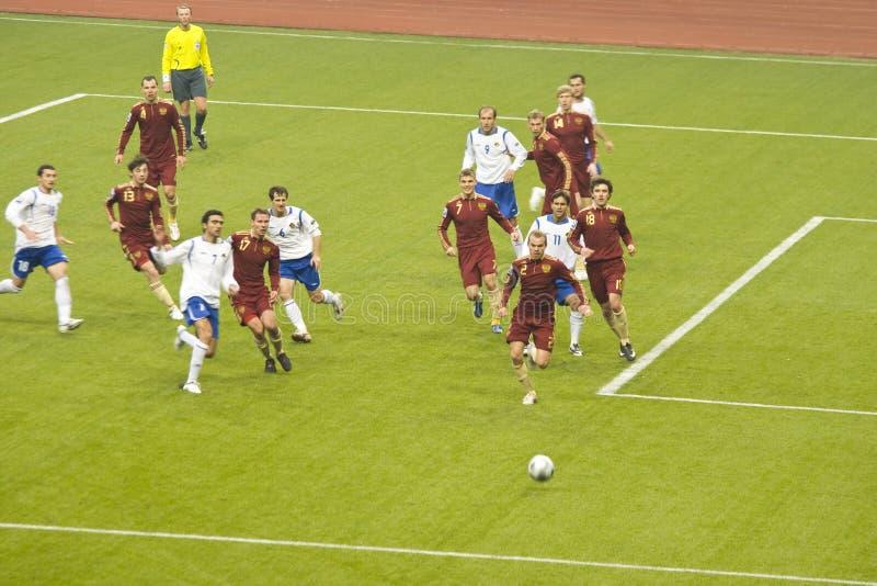 Rusland versus Azerbaijan, de wereldkop 2010 van FIFA stock afbeelding