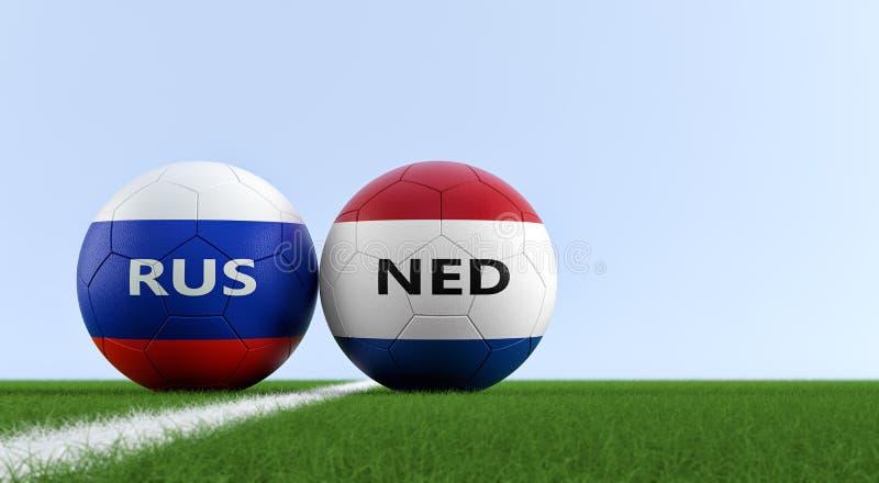 Rusland versus De Gelijke van het Nertherlandsvoetbal stock illustratie