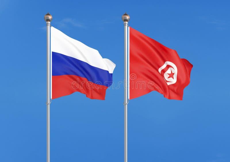 Rusland versus Tunesië Dik gekleurde zijdeachtige vlaggen van Rusland en Tunesië 3D illustratie op hemelachtergrond ? ?Illustrati stock illustratie