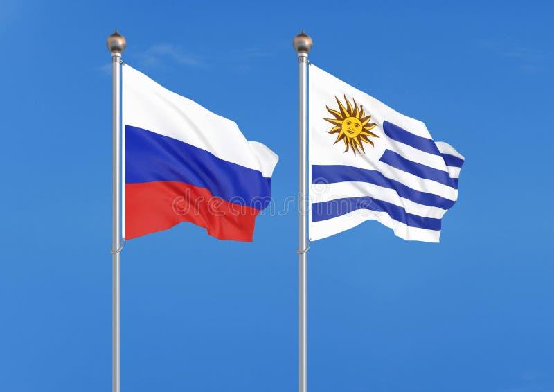 Rusland versus Uruguay Dik gekleurde zijdeachtige vlaggen van Rusland en Uruguay 3D illustratie op hemelachtergrond ? ?Illustrati vector illustratie