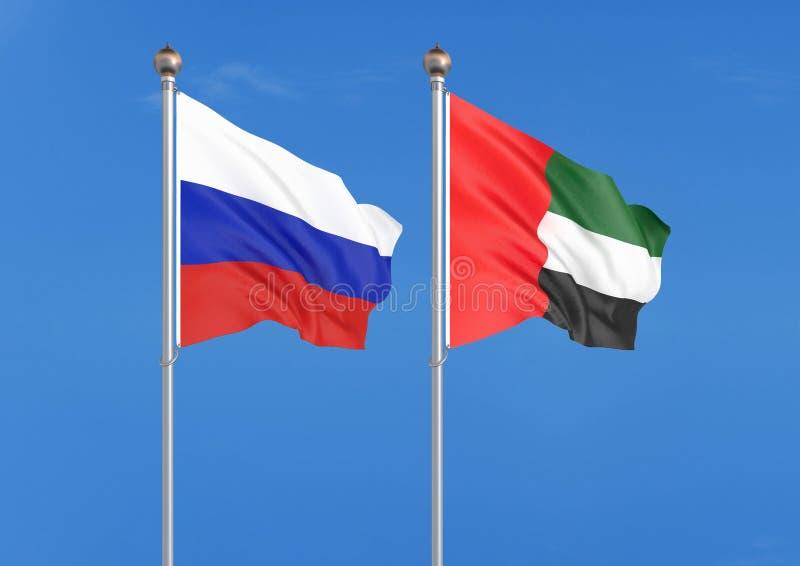 Rusland versus Verenigde Arabische Emiraten Dik gekleurde zijdeachtige vlaggen van Rusland en Verenigde Arabische Emiraten 3D ill vector illustratie
