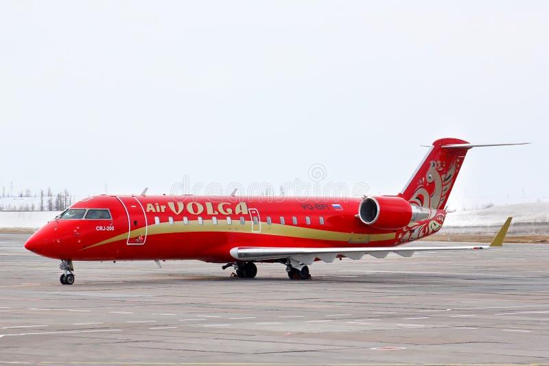 RusLine Canadair regionalności strumień CRJ-200ER fotografia stock