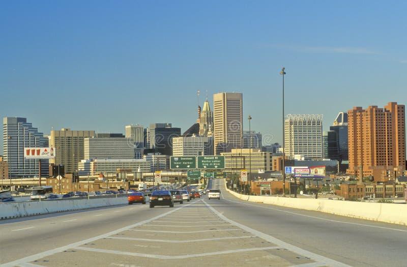 Rusningstidtrafik, Baltimore, Maryland arkivbild