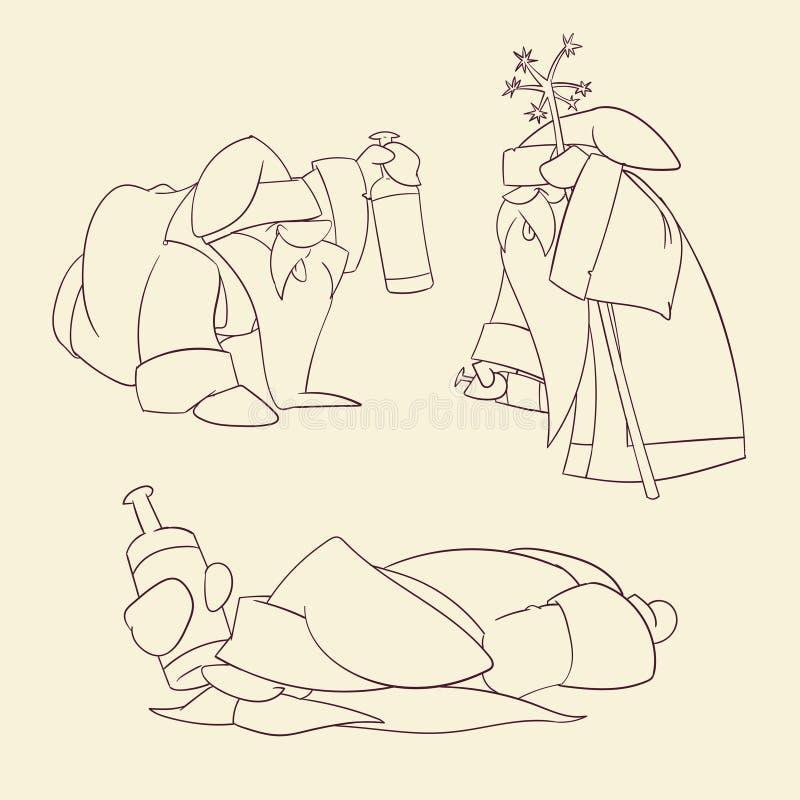 Ruso borracho Papá Noel de la historieta libre illustration
