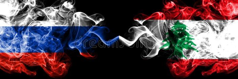 Ruso contra Líbano, banderas libanesas del humo colocadas de lado a lado Banderas sedosas coloreadas gruesas del humo de Rusia y  libre illustration