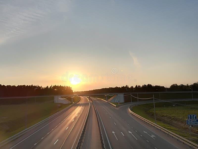 Ruso de sol de carretera imagen de archivo