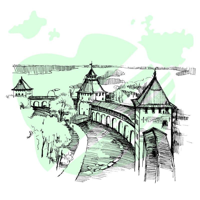 Ruso dibujado mano el Kremlin, bosquejo urbano fotografía de archivo libre de regalías