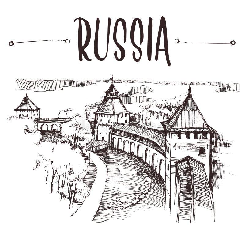 Ruso dibujado mano el Kremlin, bosquejo urbano Ejemplo de libro a mano, postal turística o plantilla del cartel en vector fotos de archivo libres de regalías