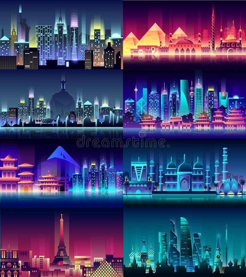 Ruso viaje de neón del país de la ciudad de los edificios de la arquitectura del estilo de la noche de la ciudad de Francia, Japó libre illustration