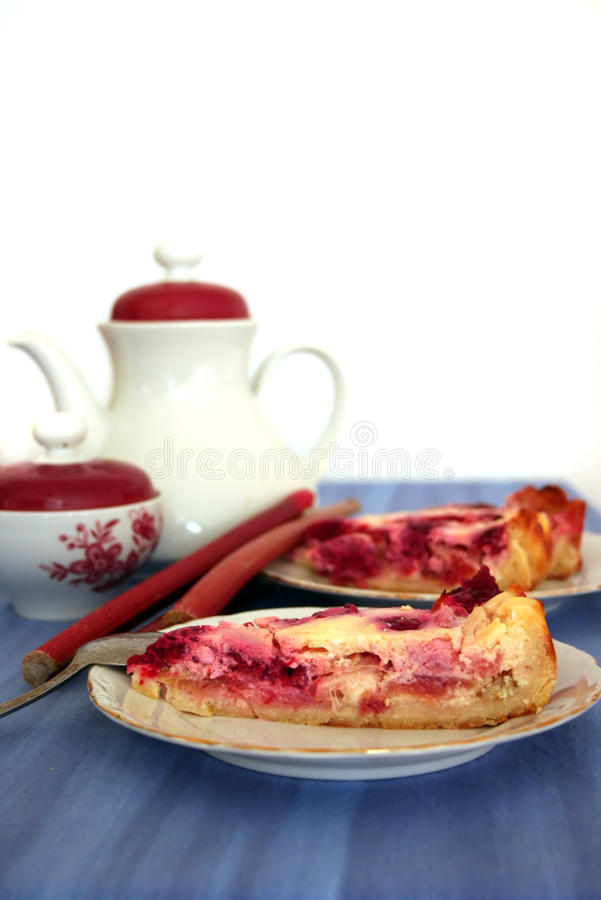 ruspberry custardpierabarber royaltyfria bilder