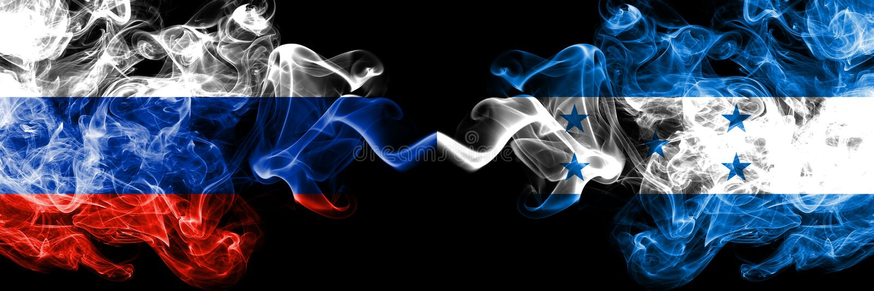 Russe contre le Honduras, drapeaux honduriens de fumée placés côte à côte Drapeaux soyeux colorés épais de fumée de la Russie et  illustration de vecteur