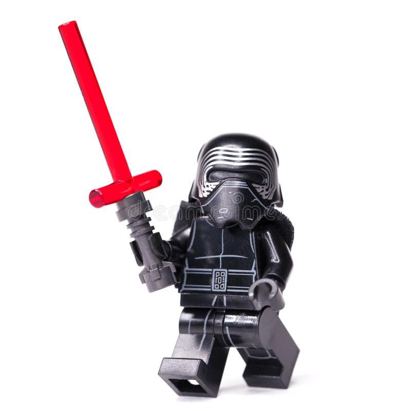 RUSSE, AM 15. JANUAR 2019 Lego Star Wars Minizahlen Kylo Ren von Lego Star Wars-Saga stockbilder