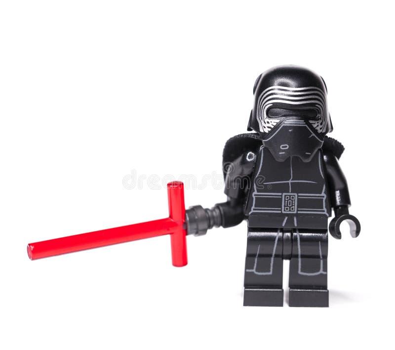 RUSSE, AM 15. JANUAR 2019 Lego Star Wars Minizahlen Kylo Ren von Lego Star Wars-Saga lizenzfreie stockfotografie