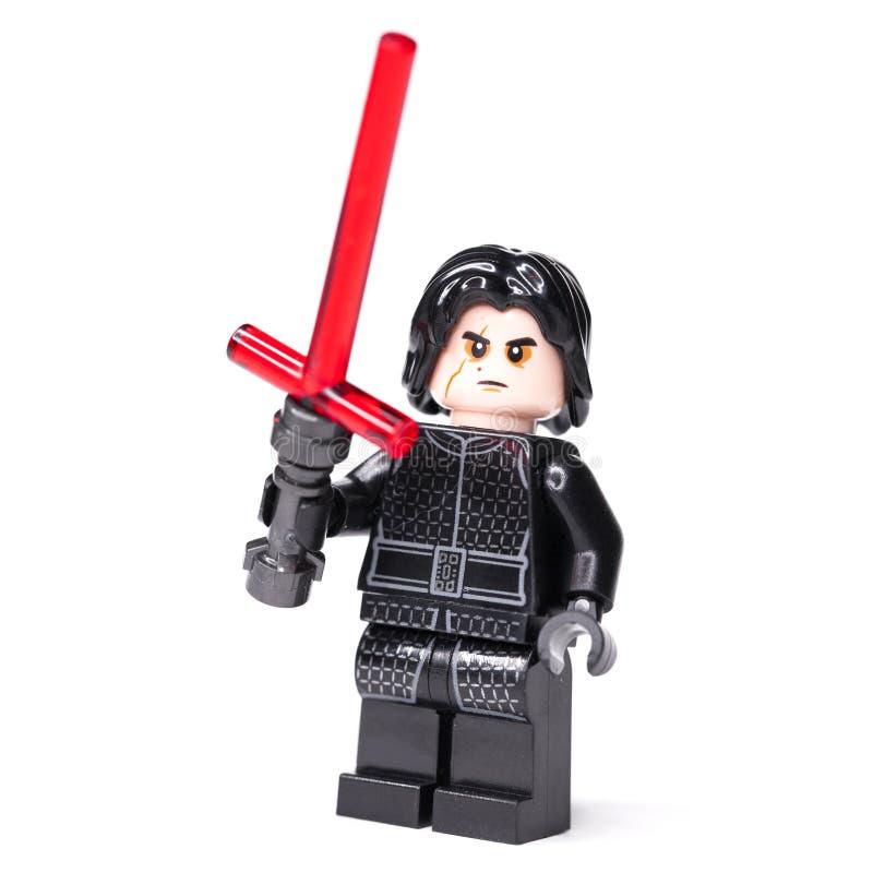 RUSSE, AM 15. JANUAR 2019 Minizahlen LEGO STAR WARS Kylo Ren von Lego Star Wars-Saga lizenzfreies stockbild