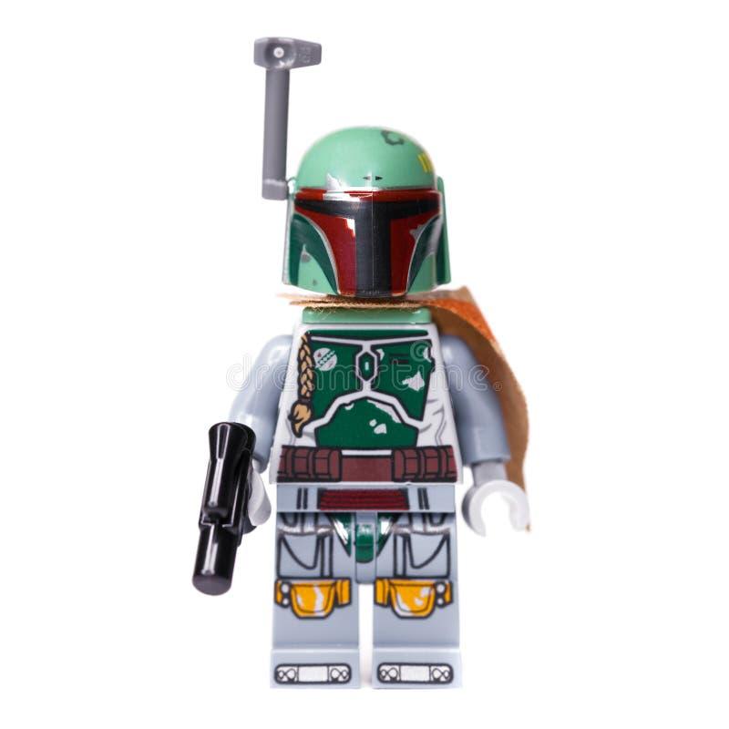 RUSSE, SAMARA, AM 16. JANUAR 2019 Erbauer Lego Star Wars Kopfgeldjäger Boba Fett lizenzfreie stockbilder