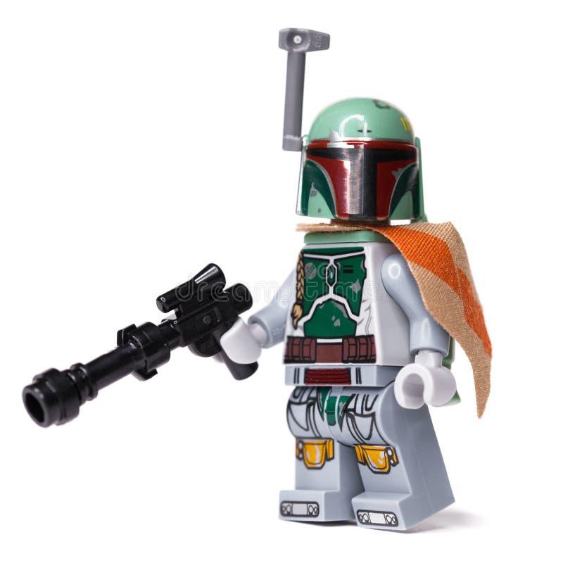 RUSSE, SAMARA, AM 16. JANUAR 2019 Erbauer Lego Star Wars Kopfgeldjäger Boba Fett stockfotografie