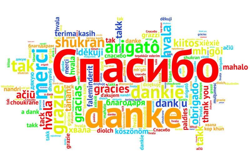 Russe Spasiba, offene Wort-Wolke, Dank, auf Weiß lizenzfreie abbildung