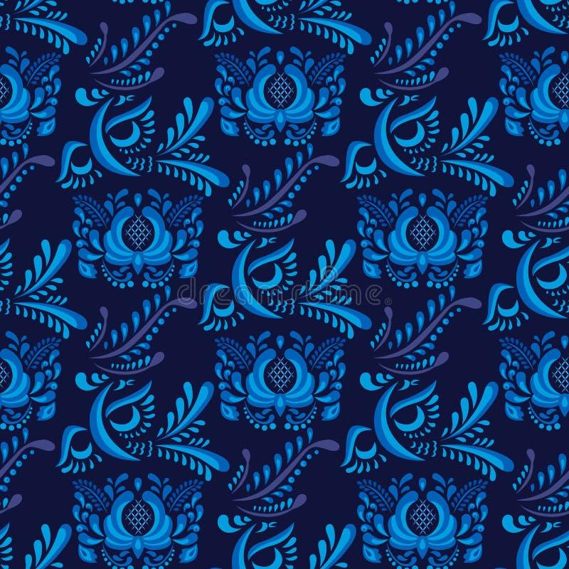 Russe verziert Kunst gzhel Art, die mit nahtlosem Musterhintergrund der blauen Blumentraditionellen Volksblütenniederlassung gema stock abbildung