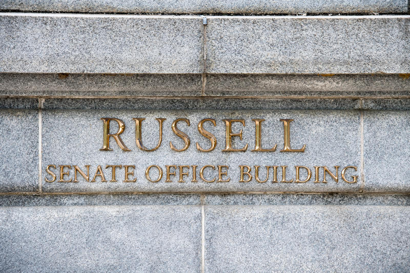Russel building senate capitol in washington dc. View stock photography