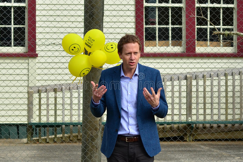 Russel William Norman. PERIA ,NZL - JUNE 23 2014:Russel William Norman giving a speech.He is a New Zealand politician and environmentalist. He is a Member of stock images