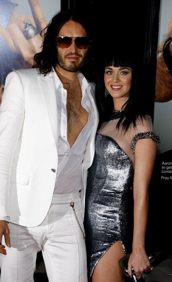 Russell Brand en Katy Perry stock foto's