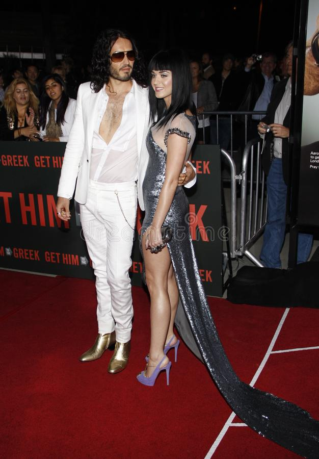 Russell Brand and Katy Perry. At the World premiere of `Get Him To The Greek` held at the Greek Theater in Hollywood, California, United States on May 25, 2010 royalty free stock image