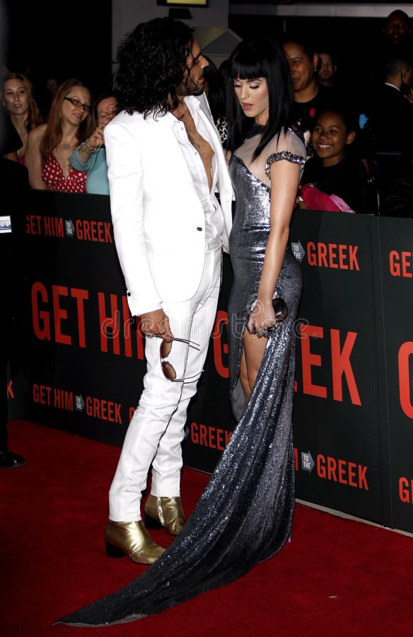 Russell Brand and Katy Perry. At the World premiere of `Get Him To The Greek` held at the Greek Theater in Hollywood, California, United States on May 25, 2010 royalty free stock photos