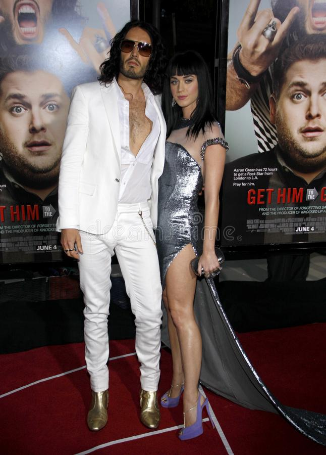 Russell Brand and Katy Perry. At the World premiere of `Get Him To The Greek` held at the Greek Theater in Hollywood, California, United States on May 25, 2010 stock images