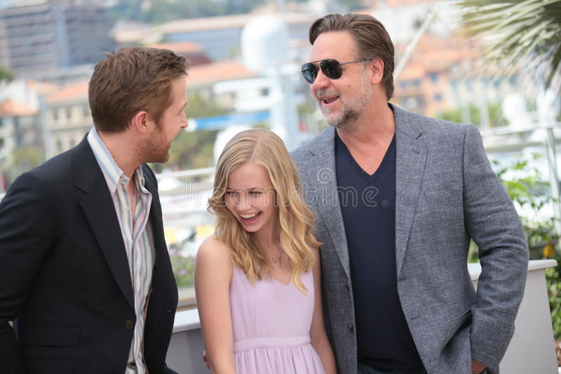 Russell Crowe, Ryan Gosling, riz d'Angourie photographie stock