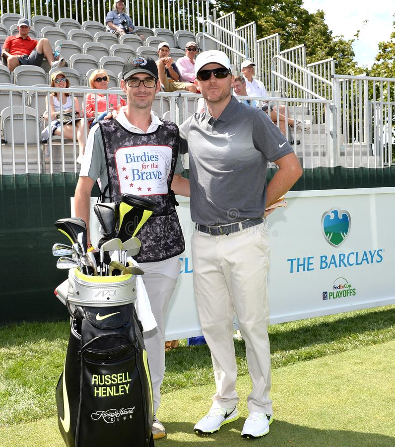 Russell Henley bij 2015 Barclays pro-Am hield in Plainfield Country Club in Edison, NJ royalty-vrije stock foto's