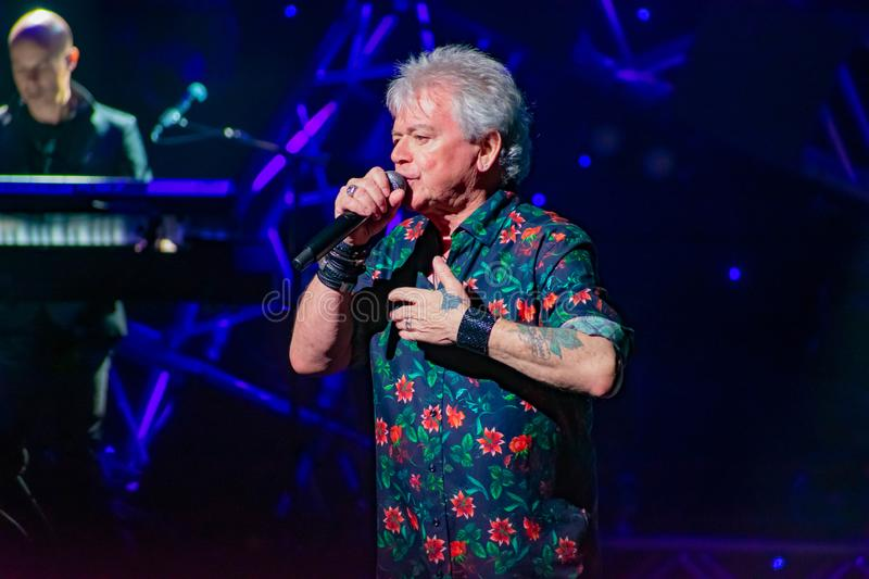 Russell Hitchcock  from air supply, singing beautiful melody at Epcot in Walt Disney World 17. Orlando, Florida. March 26, 2019. Russell Hitchcock  from air royalty free stock images