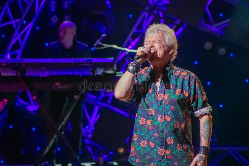 Russell Hitchcock  from air supply, singing beautiful melody at Epcot in Walt Disney World 19. Orlando, Florida. March 26, 2019. Russell Hitchcock  from air royalty free stock photo