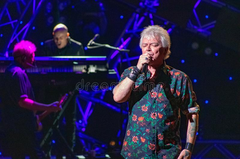 Russell Hitchcock  from air supply, singing beautiful melody at Epcot in Walt Disney World 20. Orlando, Florida. March 26, 2019. Russell Hitchcock  from air royalty free stock images
