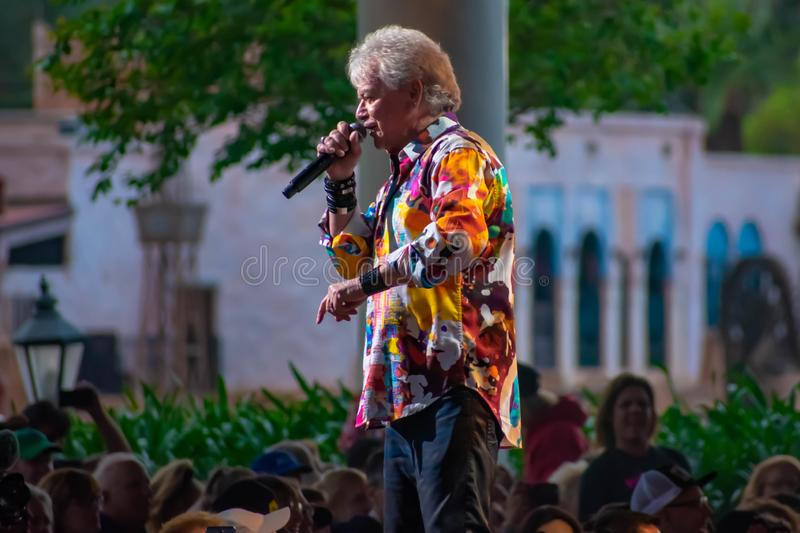 Russell Hitchcock  from air supply, singing beautiful melody at Epcot in Walt Disney World 28. Orlando, Florida. March 26, 2019. Russell Hitchcock  from air royalty free stock photo