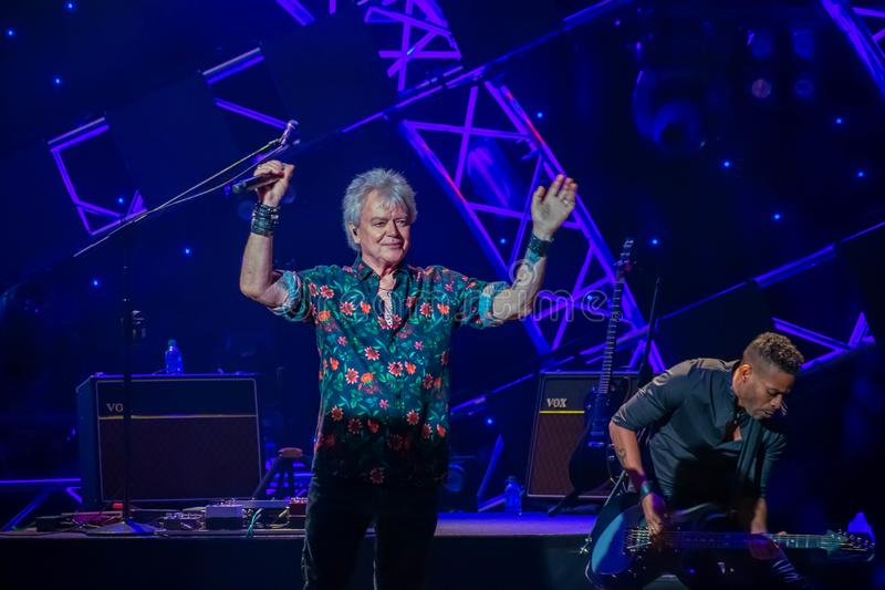 Russell Hitchcock  from air supply, singing beautiful melody at Epcot in Walt Disney World 14. Orlando, Florida. March 26, 2019. Russell Hitchcock  from air stock photography